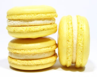 French Macaron Lemon Macarons Gift Box of 10 Tea Cookies Best French Edible Macaron Bisou Bisou