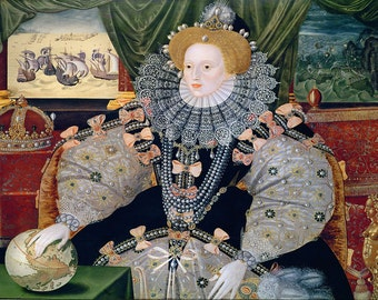 George Gower: The Armada Portrait. (Queen Elizabeth I) Fine Art Print/Poster. (003617)