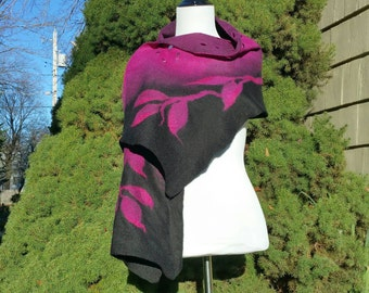 Nuno Felted Scarf in Black and Magenta. Felted Luxury Evening Wrap. Soft Silk and Wool Shawl. Wearable Art Scarf. Sophisticated Wrap.