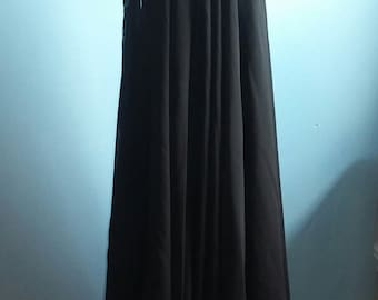 Black vintage assimetrical dress waterfall evening outfit