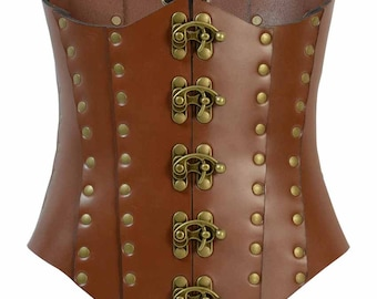 Clasped Leather Steampunk Corset - Hard Leather Corset - #DK7011