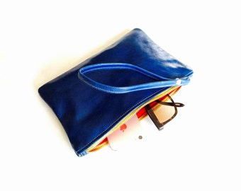 MARLIN leather clutch. Real leather clutch. Cobalt blue leather clutch bag.