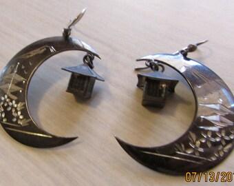 Japanese Sterling Silver Dangle Wire Earrings