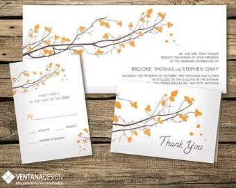 Autumn Tree Wedding Invitation Set (Digital File)