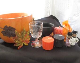 Alter Kit, Vintage Pumpkin Basket Samhain Ritual kit, Alter Kit