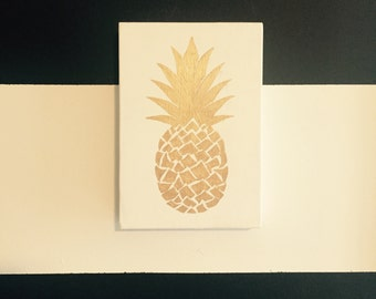 Hand painted pineapple on wooden canvas