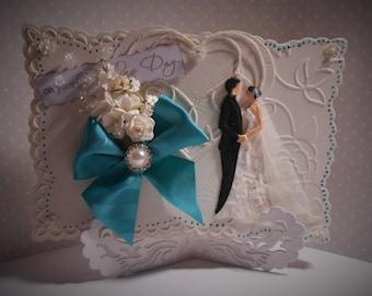 WEDDING DAY, KEEPSAKE, Boxed, Handcrafted Card, Unique, Ivory, Teal, Bride, Groom, Celebration