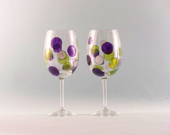 Hand Painted Wine Glasses - Mod Retro Design - Purple and Lime Green Circles - Set of Two