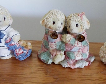 REDUCED! Vintage Enesco lamb figurines, registered and all marked on bottom, highly collectible