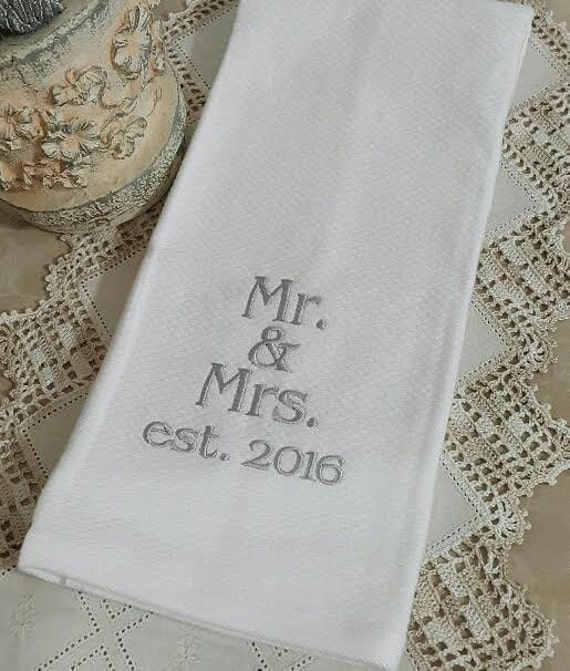 Embroidered Towels For Wedding Gift: Personalized Kitchen Towel /Wedding Gift Housewarming Gift