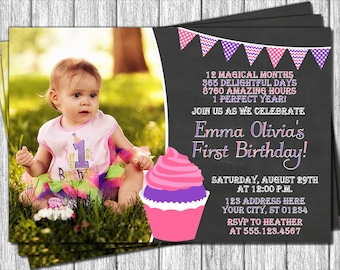 Cupcake Birthday Invitation - First Birthday Invitations - 1st Birthday