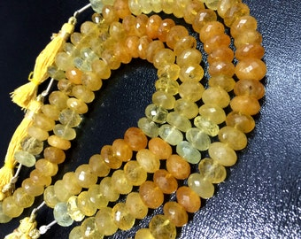 AAA Yellow AQUA MARINE faceted rondelle gemstone beads 8-9MM finest quality