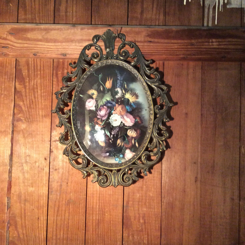 Vintage ornate brass picture frame ornate brass frame convex vintage ornate brass picture frame ornate brass frame convex glass floral picture frame bubble glass jeuxipadfo Image collections