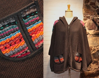 Gray Cape with hood, Hooded poncho with colorful weaving, Colorful Wrap