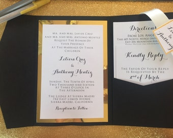 Black & Gold Mirror Invitation with Ribbon Belly Band - Mia Suite - SAMPLE