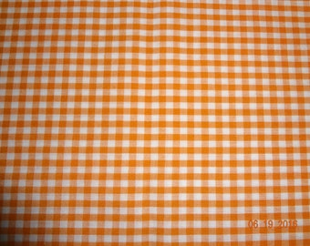 "1 7/8 Yards Orange and White Gingham Check Cotton Fabric - 45"" wide"
