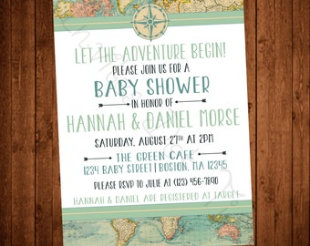 Adventure Travel Baby Shower (Printable) Invitation