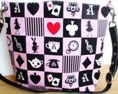 Mini Bucket Bag, Alice Rabbit Wonderland, Red Black Pink White, Unique Gift Idea, Tea Cups, Pocket Watch, Queen of Hearts, Ace Spades Clubs