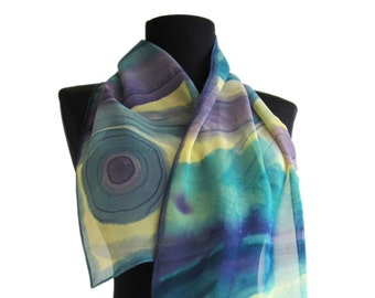 Hand Painted Silk Scarf. Batik shawl with abstract design. Summer scarf in blue and yellow. Paint by hand long scarf. Women Christmas gift.