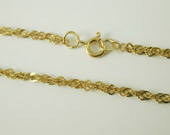 """Fancy rope chain link chain necklace vintage 9 carat gold 18"""" long 3.2 grams"""
