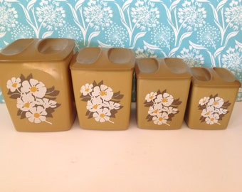 Set of 4 harvest gold canisters, retro, yellow canisters, floral, daisy