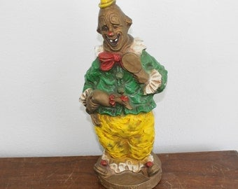 Vintage 1966 Universal Statuary Corp Chalkware Happy Clown #384