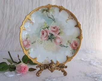 Vintage RC Claire Bavaria Plate, Hand Painted Plate, Gold Plate, Floral Plate, Dusty Pink roses