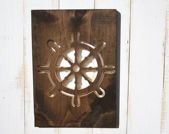Wood Ship Wheel Wall Art, Nautical Home Decor