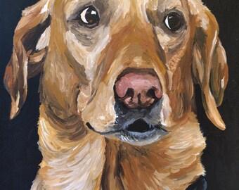 Yellow Lab art print from original yellow labrador canvas painting
