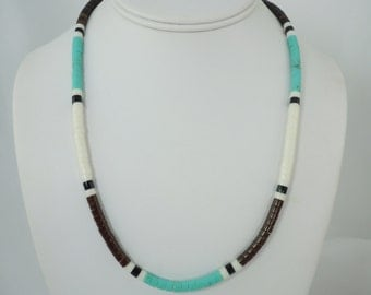 Blue Green Turquoise Heishi Bead Necklace, Bead Necklace, Sterling Silver Clasp, Men's Necklace, 20 Inch