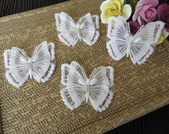 4 pieces of 3D Butterfly applique motif, with pearls and beads, off white