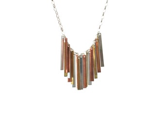 Multi Bar mixed metal bar necklace