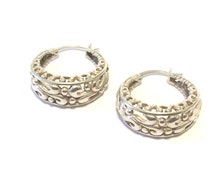 Sterling Silver Filigree Hoop Earrings
