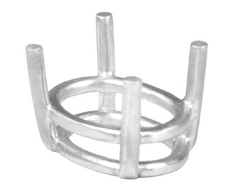 Sterling Silver 4 Prong Oval Basket Setting - C7 Series