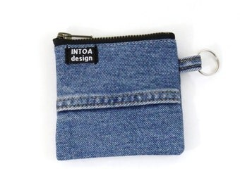 Denim Coin Purse of recycled jeans, Medium Blue, 11 x 11 cm