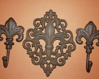 """3) pcs, Fleur De Lis wall decor, 9 1/2"""", cast iron Fleur De Lis wall hook, free shipping, Fleur De Lis coat hook, hat hook, F-10,12"""