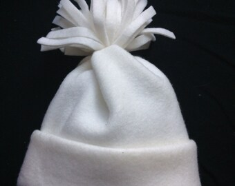Baby Fleece Pom-Pom Hat, size up to 9 months, Girl Boy Neutral, Cream, READY TO SHIP