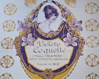 Antique french soap label, Violette Coquette, Paul Tranoy, Paris , 1900s