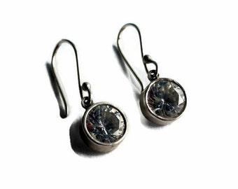 Drop earrings, quartz earrings, dangle earrings, silver earrings, small earrings, simple earrings, wedding jewelry, bridal earrings, sparkle