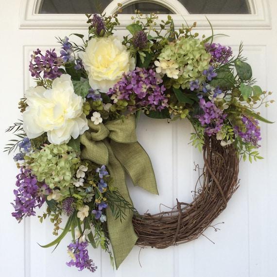 Spring wreath hydrangea wreath spring door wreath wedding for How to make door wreaths for spring