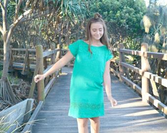 Emerald Green Broderie Anglaise Sundress, dress, beach cover, beach wear
