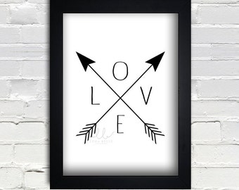 Love Arrow digital art 8x10 print PRINTABLE Instant Download