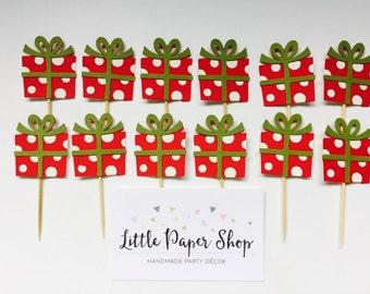 Handmade Cupcake Toppers - Christmas Presents x 12