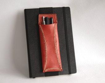 Leather Pen Case, Pen Case, Leather Pen Holder, Red Pen Case, Handmade Leather Pen Case, Pencil Case, Leather Pen Cover, Leather Pen Pouch.