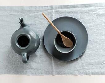 Linen table runner. Ice blue/silver grey handmade linen table runner.