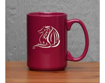 Dragon Coffee Mug / Etched 15 oz Coffee Mug / Engraved Large Tea Cup / Animal Ceramic Coffee Mug / Perfect for Tea, Coffee, or Hot Chocolate