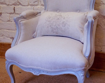 A Stunning Vintage French Louis XV Upholstered Painted Armchair