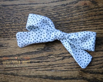 Fabric Bow, Hair Bow, Hair Clip, Toddler Bow, Baby Bow, Alligator Clip- White & Black Plus