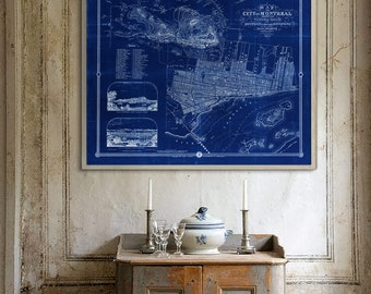 """Map of Montreal, Quebec 1857 Vintage Montreal map, 4 sizes up to 45x36"""" (110x90cm) Montréal QC map, also in blue - Limited Edition of 100"""