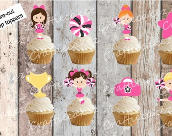24 x Pre Cut Edible Cheerleader Stand Up Cupcake Toppers